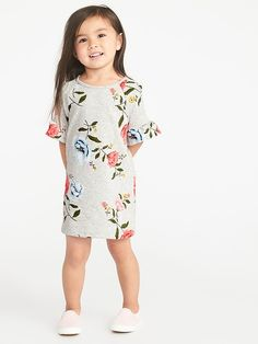 French Terry Ruffle-Sleeve Shift Dress for Toddler Girls Toddler Girl  Outfits 249723a0c