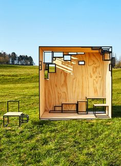 The JOINTED CUBE is a steel framed outdoor, pavilion-like installation that is based on Filip Janssens' smaller scale, cube-like furniture. Urban Furniture, Street Furniture, Design Furniture, Cube Furniture, Landscape Architecture, Landscape Design, Architecture Design, Concept Architecture, Kiosk Design