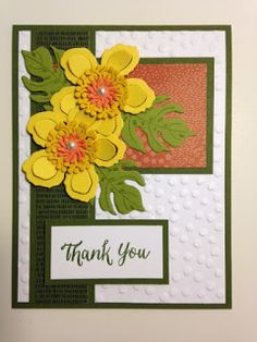 "I am loving this new ""Botanical Blossom"" stamp set with the matching die. You have to love a set when it has matching dies. It sure beat. Stamping Up Cards, Rubber Stamping, Stampin Up Karten, Thanks Card, Marianne Design, Get Well Cards, Baby Kind, Pretty Cards, Paper Cards"