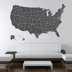 Large USA Map Wall Decal - USA Map Wall Sticker with Location ...