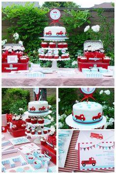boy's fire truck birthday party www.spaceshipsandlaserbeams.com
