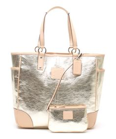 Metallic Gold Leather Tote #zulily #zulilyfinds