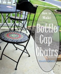 I recycled my worn and rotted metal patio chairs into a bottle cap craft you can sit on! [media_id:3472330] My mosaic bistro table and chairs were so rotted mus…