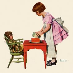 """See How Easy It Is"" by Norman Rockwell is printed with premium inks for brilliant color and then hand-stretched over museum quality stretcher bars. Money Back Guarantee AND Free Return Shipping. Norman Rockwell Prints, Norman Rockwell Paintings, The Saturdays, Arte Pop, Little Doll, American Artists, Vintage Children, Retro, Vintage Art"