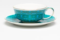 Madrid Cup & Saucer Blue & Green Small