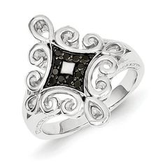 Sterling Silver Black Diamond Ring, Best Quality Free Gift Box Satisfaction Guaranteed - Rellek Jewelry