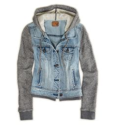 Denim Vested Hoodie, $69.95; American Eagle Outfitters.   - Redbook.com