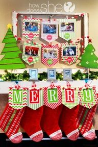 Photos over the years...I love this idea!!  I would execute it differently for my home, but how cute is the idea to have every year's family holiday photo displayed on the christmas mantle!?!