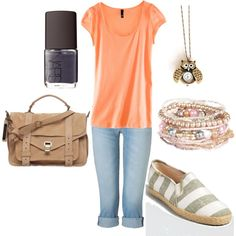 love the simple orange tee and modest shorts. hate the shoes, though.