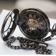 Black Dial Mens Pocket Watch NR