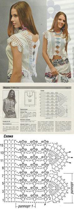 Топ с ажурной отделкой. Freeform Crochet, Crochet Motif, Irish Crochet, Crochet Designs, Crochet Lace, Crochet Patterns, Crochet Tank Tops, Crochet Blouse, Crochet Cover Up