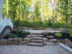 Backyard Landscaping, Backyard Ideas, Rock Steps, Garden Walls, Fire Pits, Porches, Decks, Stepping Stones, Robin