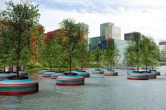 "On March 16, 2016, a floating forest of 20 trees will be launched in Rotterdam, Holland. Inspired by an art piece named ""In Search Of Habitus,"" by artist Jorge Bakker, local art collective Mothership is behind this more ambitious project. [BoredPanda]"