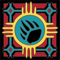 Zia Bear Claw decorative art tile is hand painted and hard fired at over 1800 degrees making it ready for use indoors or outdoors Native American Artwork, Native American Symbols, American Indians, Native Symbols, Mayan Symbols, Viking Symbols, Egyptian Symbols, Viking Runes, Ancient Symbols