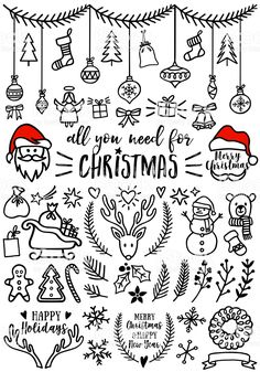 Hand drawn Christmas doodles for cards, banners, set of vector design elements. … - christmas dekoration Hand drawn Christmas doodles for cards, banners, set of vector design elements. Christmas Sketch, Christmas Doodles, Christmas Images, Christmas Design, Christmas Art, Christmas Decorations, Christmas Icons, Christmas Banners, Easy Christmas Drawings
