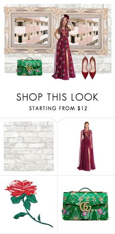 """""""Flower"""" by stephaniebh on Polyvore featuring moda, Zuhair Murad, band.do, Gucci e American Eagle Outfitters"""