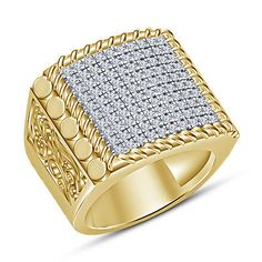 Yellow Gold Plated In Round Cut Simulated Diamond Men's Engagement Ring Mens Gold Rings, Gold And Silver Rings, Silver Man, Sterling Silver Rings, 925 Silver, Real Gold Jewelry, Diamond Jewelry, Silver Jewellery, Diamond Rings