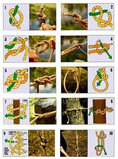 HOW TO – Tie the 10 most useful knots Here's a guide on how to tie 10 useful knots including - Overhand Knot Figure-eight Know Reef (Square) Knot Sheet (Becket) Bend Carrick Bend Bowline Clove Hitch Timber Hitch Taut-line Hitch Sheepshank Camping Survival, Camping And Hiking, Outdoor Survival, Survival Skills, Camping Hacks, Camping Ideas, Backpacking, Camping Outdoors, Homestead Survival