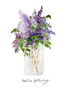 How to paint lilacs with watercolor and a free printable Watercolor Art Lessons, Watercolor Paintings For Beginners, Watercolor Tips, Watercolor Drawing, Watercolor Techniques, Watercolor Cards, Watercolor Print, Watercolor Portraits, Watercolor Landscape