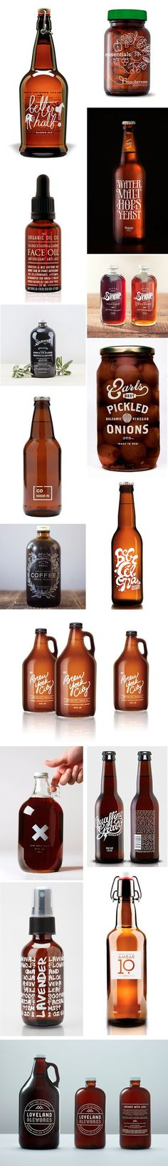 Förpackad -Amber bottles with white ink Glass Packaging, Beverage Packaging, Pretty Packaging, Brand Packaging, Design Packaging, Be Design, Food Design, Layout Web, Packaging Inspiration