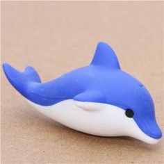 """cute blue dolphin eraser from Japan by Iwako by Iwako. $5.46. kawaii eraser from Japan. very good quality. super cute design, perfect for your collection, as a present, for school, kindergarten or office. size: 4cm (1.6""""). by Iwako, Import from Japan. cute Japanese eraser"""
