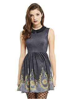 <div>We love the subtlety of this dress from Disney's <i>Peter Pan</i>! The sleeveless fit and flare dress has an allover night sky print featuring Big Ben printed on the hemline with tiny Peter Pan and Tinker Bell silhouettes. A fitted waistband and princess seams accentuate your silhouette while the contrasting black pointed collar and keyhole back detail add even more feminine details. Plus the full skirt has pockets to keep your pixie dust safe until you need to fly!</div><div><ul><li…