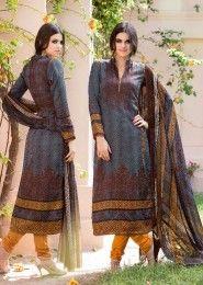 Casual Wear Grey Pashmina Printed Churidar Suit