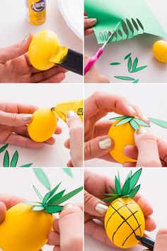 Follow this fruit DIY tutorial to decorate your Easter eggs to look like a pineapple.