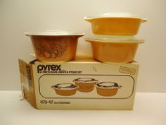 3 Pyrex OLD ORCHARD Casserole Baking Dishes with Lids - NEW IN BOX