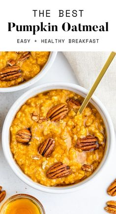This healthy and cozy pumpkin oatmeal makes the perfect breakfast for a chilly fall morning. It has a ton of pumpkin flavor with a little spice and a touch of sweetness.
