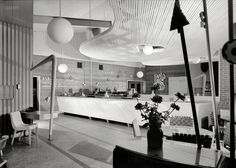 Early Googie, 1943 U.S.O. canteen, Penn Station, Harrisburg, Pa. Serving bar. 1943