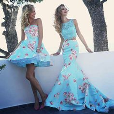 Sheri Hill welcome us to spring with these two fabulous turquoise with flowers bridesmaid dresses #SherHill #Bridesmaids #Wedding