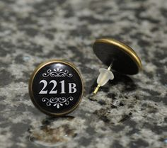 Bronze Tone Earrings Featuring the Econic 221B Door Number from Sherlock's Flat on Baker Street.