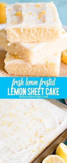 Buttermilk keeps this citrusy lemon sheet cake extra moist. Top with a light lemon glaze frosting for a refreshingly light dessert. #sheetcake #cake #frosting #lemons via @thebestcakerecipes