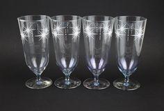Crown Corning Starlight Parfait Glasses - Mid Century Starburst - Set of Four