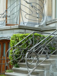 Railing at entrance to house on Avenue General de Gaulle, Brussels, Belgium, by Ernest Blerot
