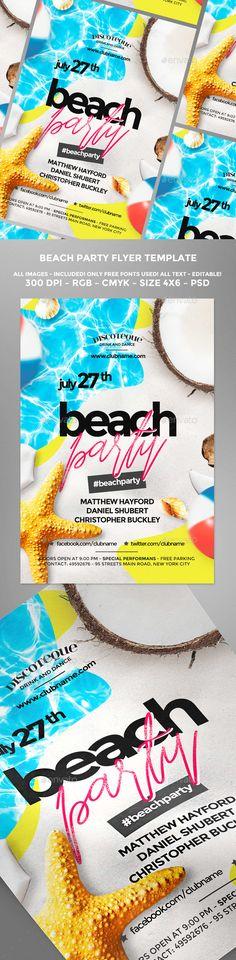 Summer Beach Flyer — Photoshop PSD #music #poster • Download ➝ https://graphicriver.net/item/summer-beach-flyer/20157786?ref=pxcr