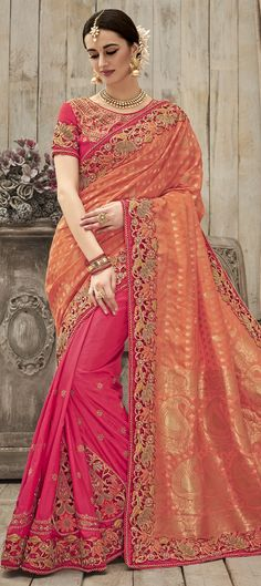 739330: Orange, Pink and Majenta color family Bridal Wedding Sarees with matching unstitched blouse.