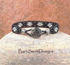 Black Silver Wrap Cuff Bracelet The Skinny by BarbSmithDesigns