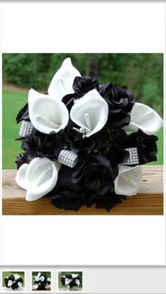 Black and white wedding bouquet. I would take out so much black and use it as an accent.