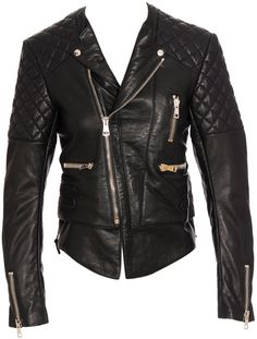 Balenciaga Quilted Biker Leather Jacket.