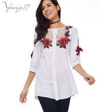 Young17 Peônia Étnica blusa Três dimensional Bordado Oco Camisa Longa Ocasional 2016 Novas Mulheres Branco de Volta as mulheres blusa flor(China (Mainland))