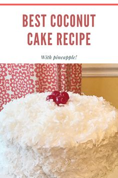 This pineapple coconut cake is easy to make and has delicious cream of tartar icing. The perfect summer dessert recipe! #recipe #dessert #cake #foodie #nomnomnom #recipes #desserts #coconut #pineapple