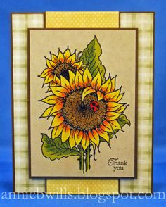 A simple and pretty thank you card made using a #Stampendous stamp (Sunflower Ladybug), prismacolor pencils, and a sentiment.