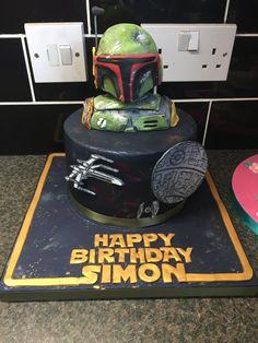 Star Wars birthday cake. Death Star, boba fett, figure, helmet. Ships,