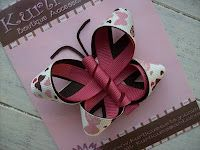 butterfly made with slightly wider ribbon- very cute!!! Would be cute if you made it into a barret for your little girl's hair :)
