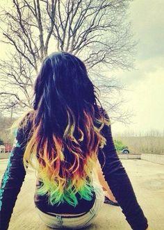 #black #rainbow #dyed #scene #hair #pretty