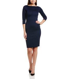 Closet Navy Ribbed Bodycon - Vestido con manga corta para mujer, color blue (navy), talla 34