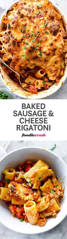 Sweet Italian sausage, roasted red bell peppers and thick layers of ricotta and provolone cheese make this baked rigatoni pasta a family favorite.   http://foodiecrush.com #pasta #rigatoni #italianfood