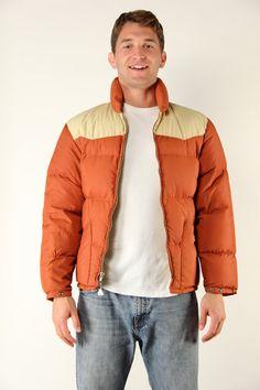 cb182d46da75 Vintage Mens Winter Jacket Puffy Goose Down Coat - Small   Medium Western  Burnt Sienna Rust Orange K